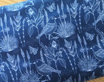 Made in Australia, Womens Custom made dress / skirt, Organic cotton fabric, Blue Birds Botannical