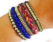Fitbit Bracelet for Fitbit Flex or Flex 2 Activity Trackers - The ROSIE Royal Blue Beaded, Braided Layered Snap Fitbit Bracelet - FREE SHIP