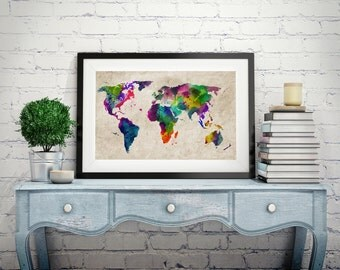 Watercolor Map of the World Map, , Art Print, Canvas Art, Original Artwork, Map Of The World Wall Art Canvas Old Style