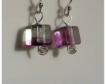 Flourite cubes Sterling Silver Dangle Earrings.