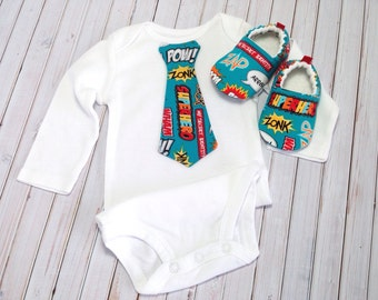 Superhero Baby Shoes and Tie Bodysuit, Soft Sole Baby Shoes, Baby Shower Gift, baby boy outfit, baby boy neck tie, Blue baby shoes, baby boy