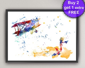 The Little Prince Watercolor Prints Fox and Plane Principito Le Petit Prince Saint-Exupéry Art for kids Print kids Gift Poster art (Nº16)
