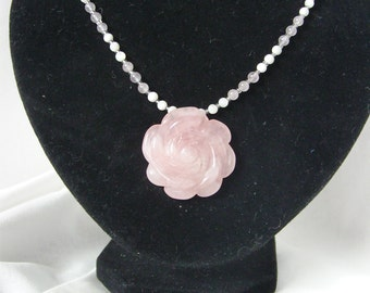 Rose Quartz statement necklace