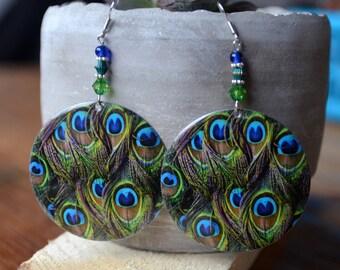 beautiful Peacock style handmade earrings with green blue beads.