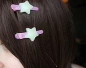 Fairy Kei, Star Hair Clip, 2 Pieces Glows In The Dark! Tumblr, Kawaii, Lolita, Pastel Goth, Visuel Kei,Decora