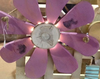 Hanging Lighted Wood Flower