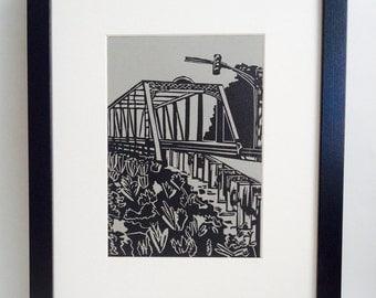 "Bridge Crossing handmade linocut print 5x7"", unframed (gravel gray) - printmaking, home decor, wall art, birthday gift, bridge art"