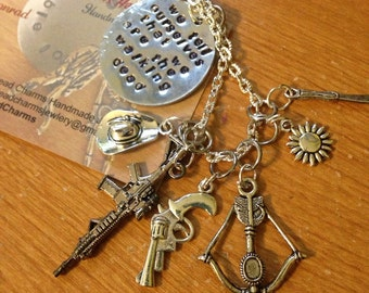 """We tell ourselves that we are the walking dead"""" fan inspired 20"""" sterling silver necklace"""