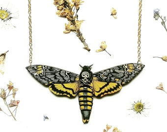 Death's Head Moth Necklace // Hawk Moth Necklace // Butterfly Jewelry // Wooden Pendant // Wood Necklace // Animal Necklace // Woodland