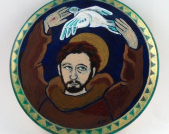 St. Francis with Peace Dove Retablo, Southwest Art by Karlene Voepel.  Sold individually.