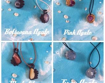 Agate/aquamarine/tigers eye/mookalite/rose quartz/botswana agare feather leather necklaces