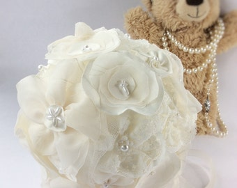 Ivory pomander for flower girls or bridesmaids; kissing ball; hanging flowers, lace wedding decorations for pew ends, ceremony, centrepieces