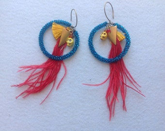 Red feather and skull Inca beaded earrings, swarovski,yellow silk tassel