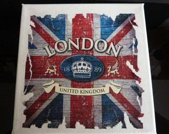 Union Jack 1889 Canvas Wall Art Picture industrial nostalgic country home and living Art
