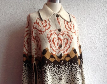 1960s cream knit cape