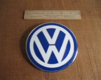 Vintage VW Bonnet Badge Emblem-Blue White Chrome-Made In Italy...Free Shipping...Reshopgoods