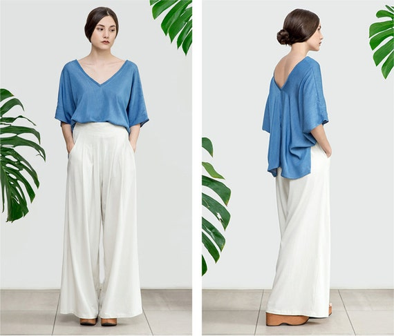 Wide Leg Pants Cotton Palazzo Pants High waisted Trouser