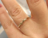Personalized Tiny Name Ring-Gold Ring-Custom Name Ring-Bridesmaid Gift-Letter Ring-Initial Gold Name Ring-Stackable name rings