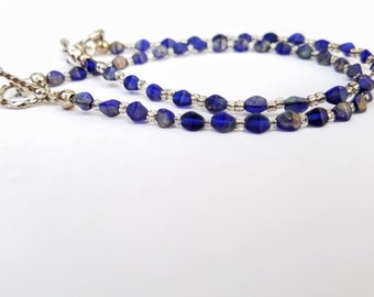 Blue beaded bracelet, Penn State fashion jewelry, Dallas Cowboys women silver toggle clasp, Mothers day or anniversary gift for her under 20