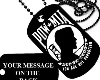 Pow Mia - You are not forgotten, Personalized dog taglaser engraved with chain
