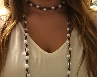 Large pearl knot double wrap necklace