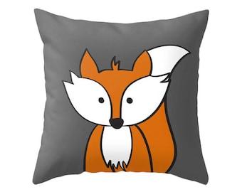 Fox cushion fox pillow fox nursery pillow fox nursery cushion monochrome pillow black and white nursery fox decor fox nursery decor