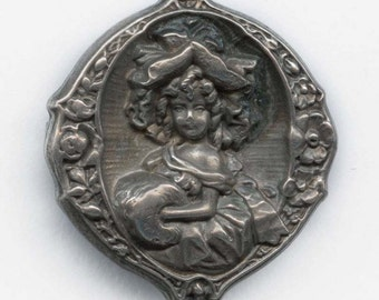 Vintage petite sterling silver hollow repousse pin with portrait of lady with fur muff. (pnvs870)