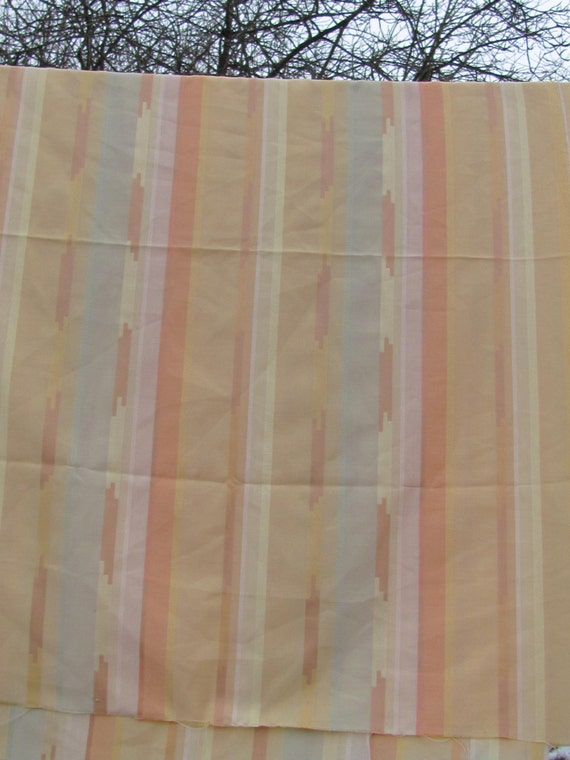 Vintage fabric for curtains valances tablecloth size 60 x 85 pale yellow peach mint - Benefits of light colored upholstery and curtains ...