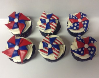 Fondant Patriotic Pinwheels