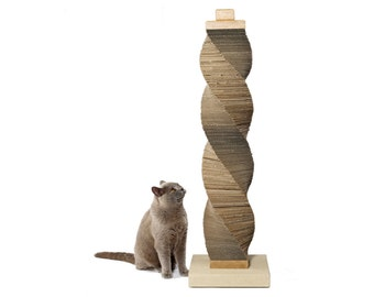 Tall CARDBOARD Cat Scratcher | recycled cardboard, oak and stone structure | by Charley and Billie