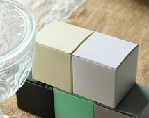 50pcs Favor Boxes 2x2x2 inch-White Favor Boxes-Ivory Wedding Bridal Favors-Robin's Egg Blue Baby Shower Favor Box-Black Gift Boxes FBC222