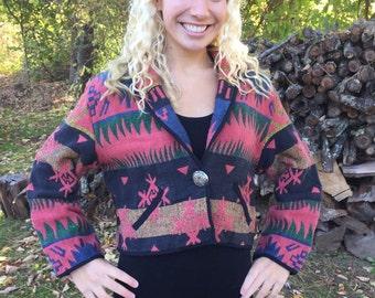 Navajo Jacket, Fiorlini - Aztec Jacket, Boho Jacket, Tapestry Jacket, Southwestern Blazer, Cropped Jacket, Native American, Tribal Jacket
