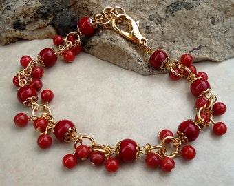 Red Coral Stone Cluster Bracelet.24k Gold plated.Beadwork.Bridal.Delicate.Colorful.Statement.Gift.Bridesmaid.Holiday.Birthday. Handmade.