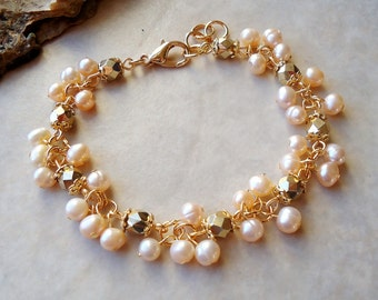 Pearls Cluster Bracelet.Gold Crystals.24k Gold plated.Beadwork.Bridal.Delicate.Wedding.Statement.Mother's.Birthday.Formal.Gift. Handmade.