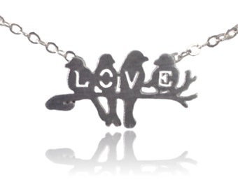 Tiny Love Birds Necklace -Silver Plated