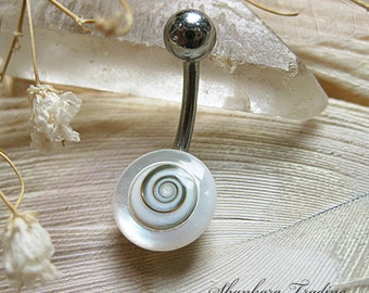 Shiva Eye Belly Bar, Mother of Pearl and Shiva Shell Belly Bar, Naval Piercing, Belly Button Ring, Surgical Steel Belly Button Ring