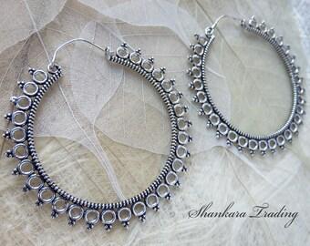 White Brass Tribal Earrings, Gypsy Hoop Earrings, Bohemian Earrings, Belly Dance Jewelry, Tribal Brass Earrings, Tribal Gypsy Jewelry