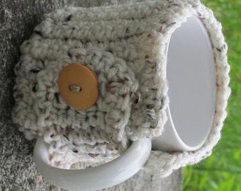 Oatmeal Crochet Mug Cozy With Button Ready to Ship