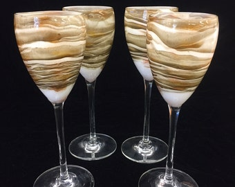 Steven Maslach Earth Art Glass Wine Glasses