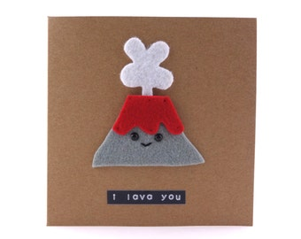 I Lava You , cute birthday card, volcano themed card, funny pun card