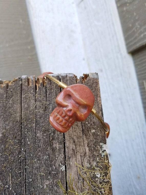 Sale**** Natural Red Agate Handcarved Skull Bangle****