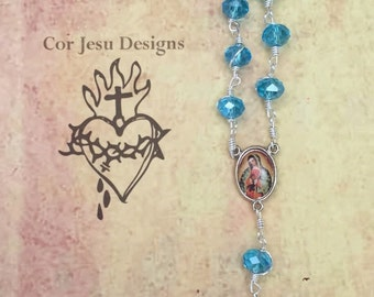 Pocket rosary / light blue crystal beads / tenner rosary / single decade rosary / wire-wrapped / unbreakable rosary