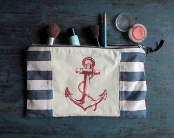 Nautical Anchor Zipped Pouch Fabric Clutch Red White Blue Muted Flat