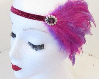 Fuchsia Hot Pink & Purple Feather Headpiece Headband Vintage 1920s Flapper k90