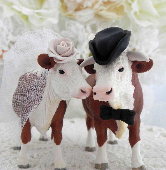 Hereford Cow and Bull Wedding Cake Topper with a by ...