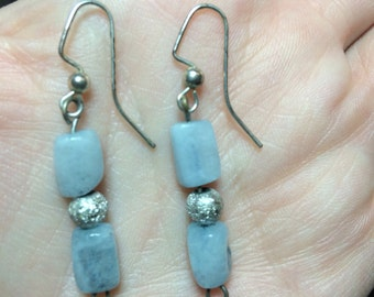 Aquamarine earrings/sparkly silver bead accents/silver plated hooks/nickel free