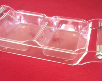 Lucite Tray with Serving Insert and Chrome Handles/Grainware