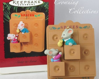 1995 Hallmark Sister to Sister Keepsake Ornament Mice in Spice Drawer Cabinet Vintage Family Christmas Add Spice to the Holidays Mouse