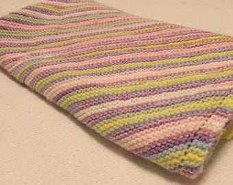 Hand knit stripe purple,yellow,pink,blue,and white baby blanket/machine washable hand knitted stripe baby blanket/car seat blanket, stroller