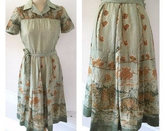 40s Tailored Dress - 40s Wool Dress - Vintage Dress Size M